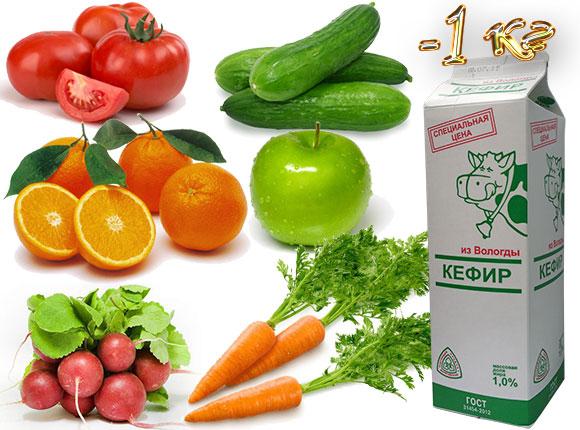 кефирно-фруктовая диета на 1 день