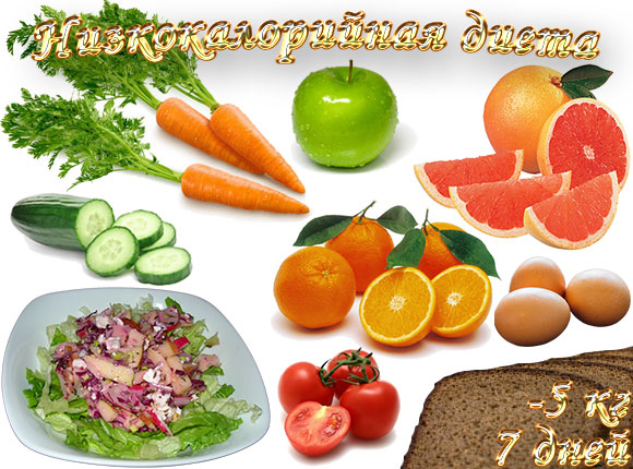 Низкокалорийная диета,5 кг, 7 дней